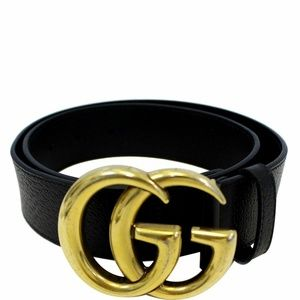 GUCCI Double G Buckle Leather Belt Black Size 37